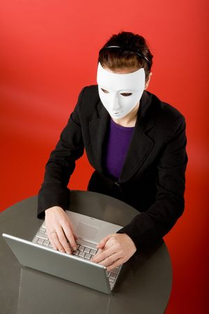 spammer: Writing an message online annonymously Stock Photo