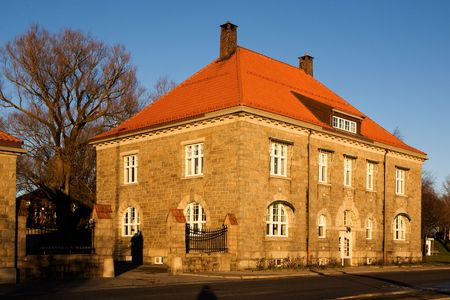fredrikstad: An old brick building in warm sunlight Stock Photo
