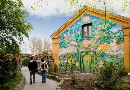 Eintritt zu Christiania - ein besetztes Gebiet von Kopenhagen, Dänemark