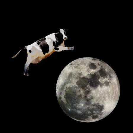 cow farm: A cow jumping over the moon