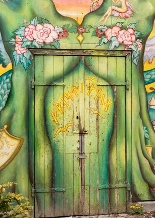 occupied: A detail of a door in Christiania - an occupied area of Copenhagen, Denmark Stock Photo