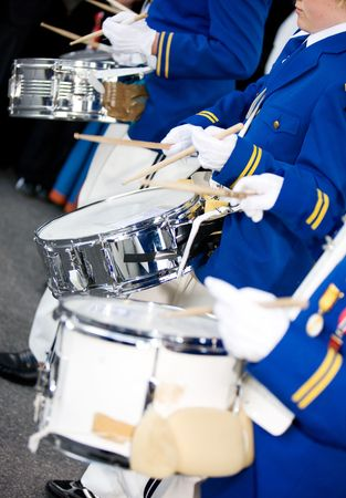 Marching drummers in a parade photo
