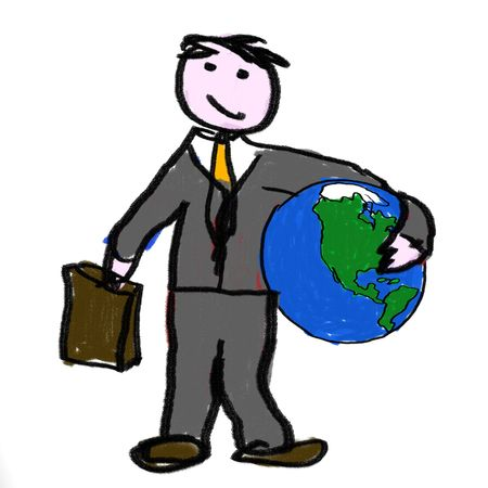 quota: A business man holding the globe Stock Photo