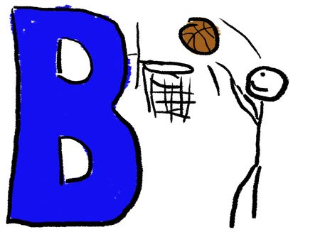 A childlike drawing of the letter B colored Blue, with a stick person playing Basket Ball photo
