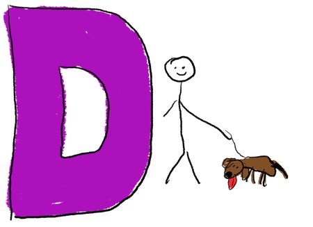 childlike: A childlike drawing of the letter D, with a stick person and his pet Dog Stock Photo