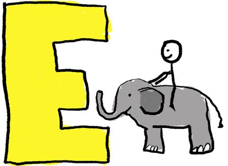 preschool classroom: A childlike drawing of the letter E, with a stick person and riding a small elephant Stock Photo