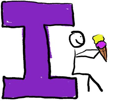 A childlike drawing of the letter I, with a stick person eating an ice cream cone.