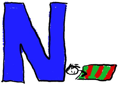 taking nap: A childlike drawing of the letter N, with a person taking a Nap Stock Photo