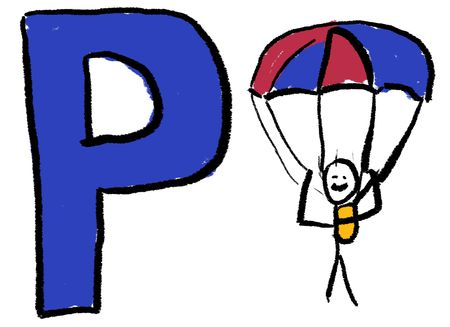 A childlike drawing of the letter P, with a stick person hanging from a parachute photo