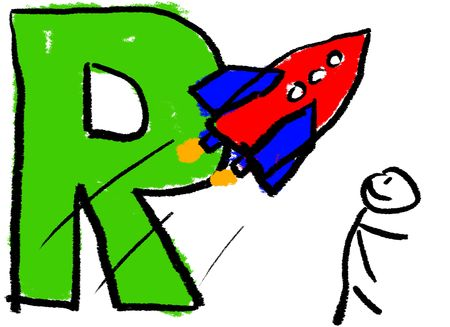 A childlike drawing of the letter R, with a stick man watching a Red Rocket photo