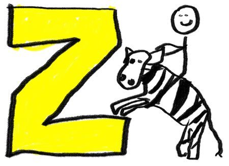 A childlike drawing of the letter Z, with a stick man riding a zebra photo