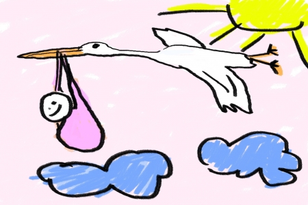 A childlike drawing of a newborn baby girl and stork