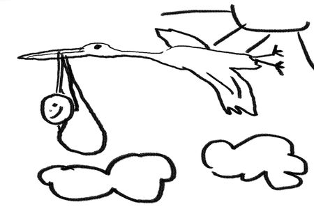 A childlike line drawing of a newborn  and stork Stock Photo - 2532676