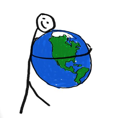 A stick person holding the globe Stock Photo - 2532667