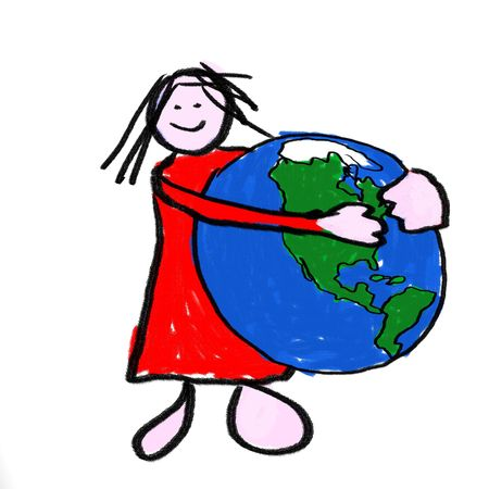 A girl holding the globe - a childlike drawing photo