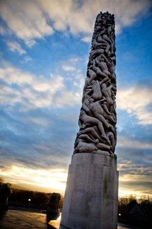 Monolith: The monolith in the vigeland sculpture park in Oslo, Norway Stock Photo
