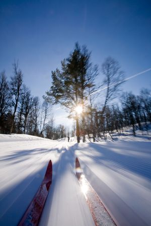 back country: Motion action shot of cross country skiing. Stock Photo