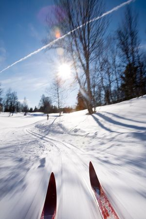 back country: An action motion shot of cross country skiing Stock Photo