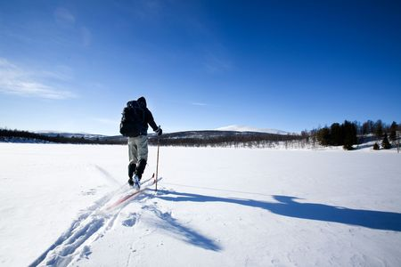 A cross country skiier skiing off trail back country;