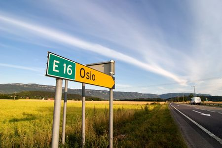 A traffic sign for oslo and highway E16 photo