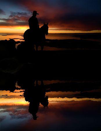 rancho: Un vaquero en una ronda en una bebida celebrar  Foto de archivo