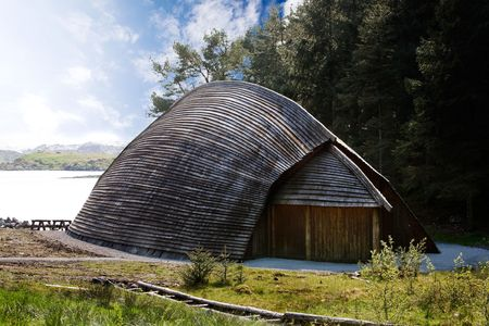 A viking storrage house on the coast of norway