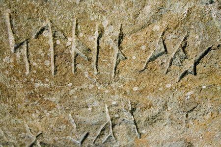 saga: Viking runes inscribed in a stone Stock Photo
