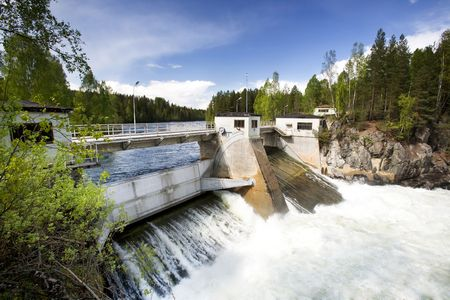 hydro: A hydro electric plant on a river Stock Photo