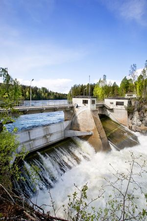 A hydro electric plant on a river photo
