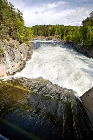 hydro electric: A hydro electric plant on a river Stock Photo