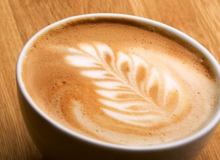capucinno: A latte in a bowl with latte art Stock Photo