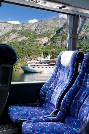 バスからフィヨルド ビュー 写真素材
