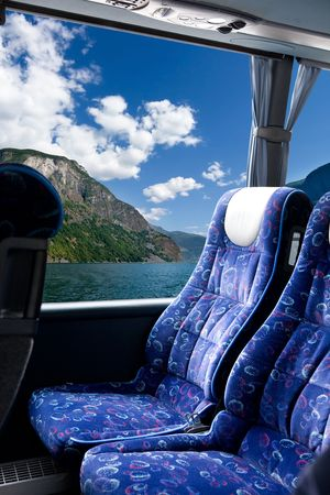 A fjord view from a bus photo
