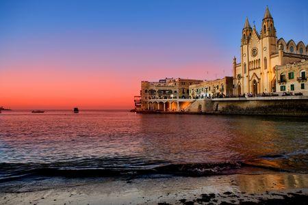 st: St Julians Bay in Malta Stock Photo