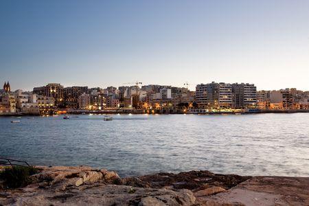 julian: Saint Julians Bay in Malta Stock Photo