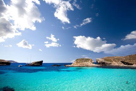 lagoon: Blue lagoon in Malta on the island of Comino