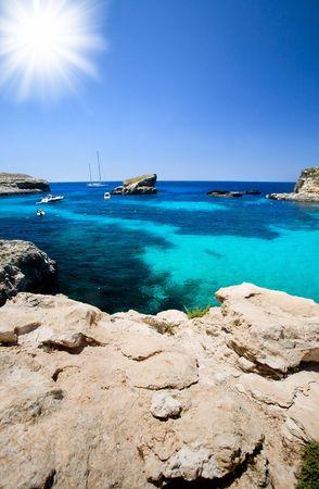 malta: Blue lagoon swimming cove Stock Photo