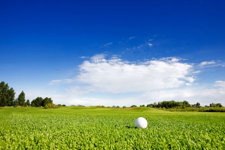 of course: A golf ball on a fairway on a golf couse Stock Photo
