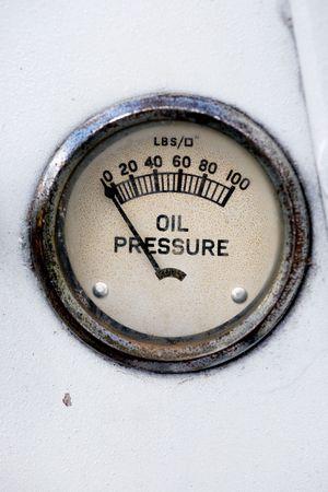 pressure gauge: An old retro steampunk style oil pressure gauge Stock Photo