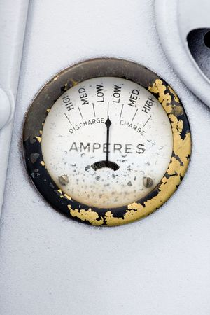 amp: A retro steampunk style amp gauge Stock Photo