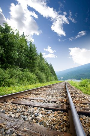 Railroad tracks in nature Stock Photo - 3457659
