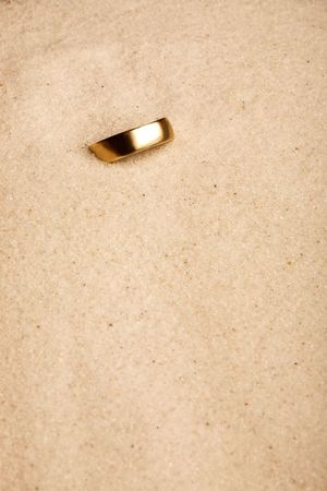 forgotten: A wedding ring buried in the sand - lost