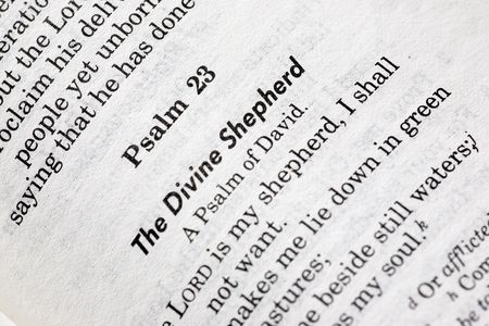 A macro detail of Psalms 23 in the Christian Bible photo