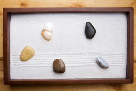 Miniature Zen rock garden background Stock Photo - 3818924