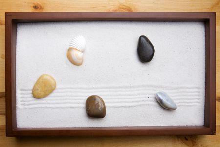 Miniature Zen rock garden background Stock Photo - 3818924