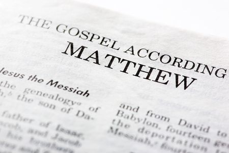 according: The Gospel According to Mathew, macro detail of the first book of the Christian New Testament