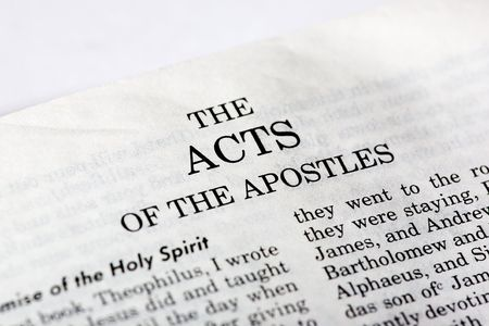 books new books: A macro detail of the book of Acts in the Christian New Testament Stock Photo