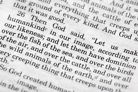 verse: Genesis 1:26 - a popular verse in the Bibles Old Testament Stock Photo