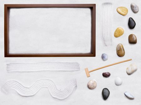 raked: A do it yourself background for zen cart - move the rocks and sand around in the box and create your own zen garden Stock Photo