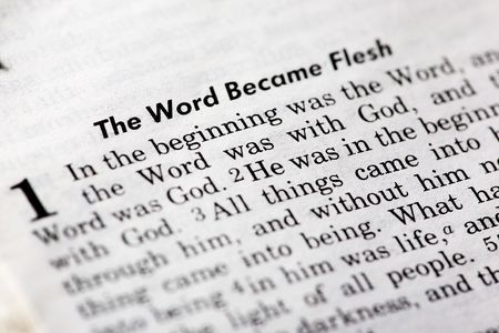 John 1:1 - The word became flesh. Popular New Testament passage Stock Photo - 3844043